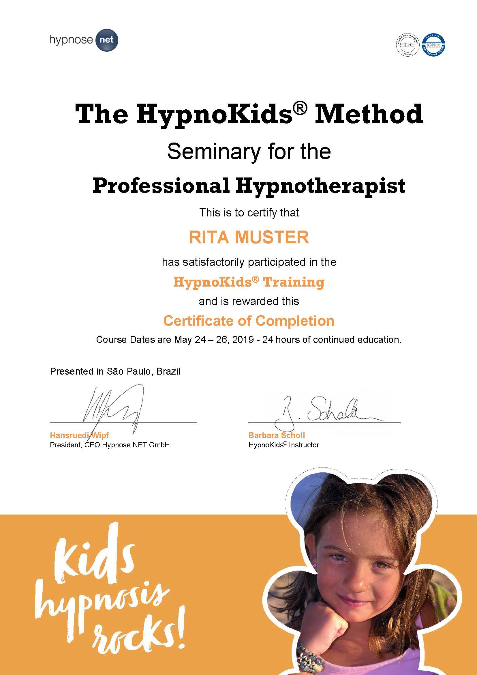Zertifikat HypnoKids